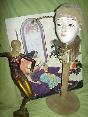 """FAB-ulous FRENCH antique, """"Pierrot"""", boudoir doll, Art Deco HAT STAND (bed doll)"""