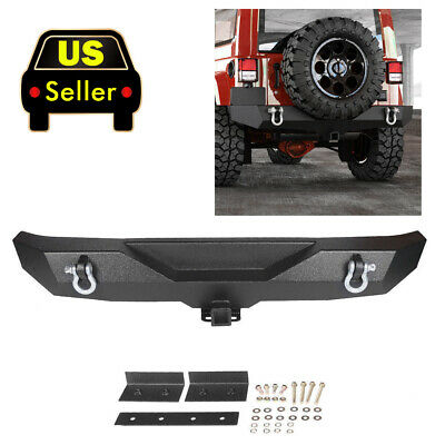 Textured Rock Crawler Rear Bumper & 2x D-rings For All 87-06 Jeep Wrangler YJ TJ