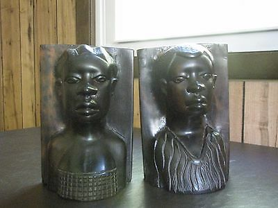African Man & Woman Tribal Bookends Hand Carved Ebony Wood