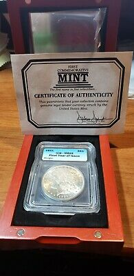 1921-P Morgan Silver Dollar Icq Ms65 Final Year Issue With Display Case