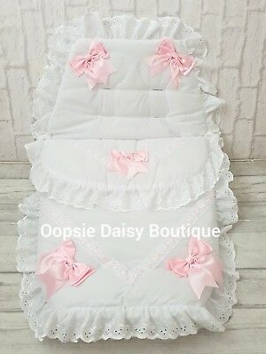 Baby Girls White & Pink Luxury Large Ribbon Foot Muff Cosy Toes Pram Nest