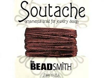 Beadsmith soutache rayon braided cord - 3mm wide - 3 yds - (metallic) Bronze