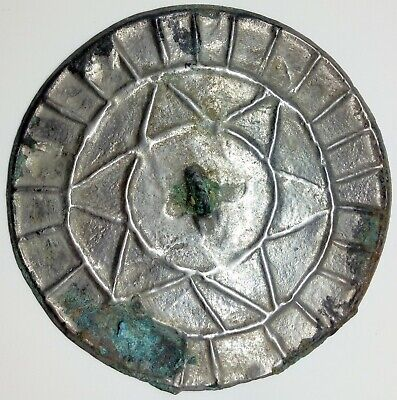 Bronze Mirror Pendant /  Khazar / Jew Star  76mm. /  500-900AD. Coin / Viking