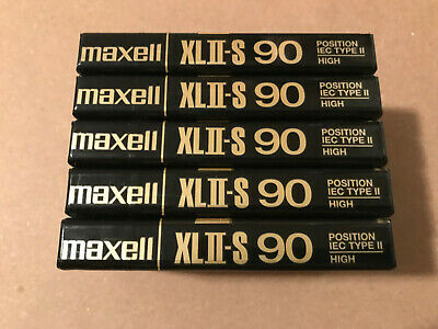 Set of 5 New Sealed Maxell XLII-S 90 Cassettes Tapes Made In England