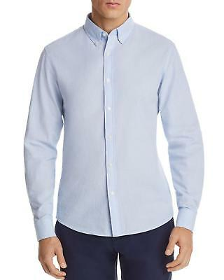 Michael Kors Men's Blue Seersucker Slim Fit Button-down Shirt Size M