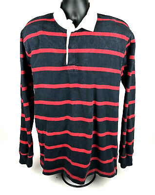 0f56ebc92f3 VINTAGE J CREW Mens L Rugby Striped Rugby Polo Shirt 90s Old School ...