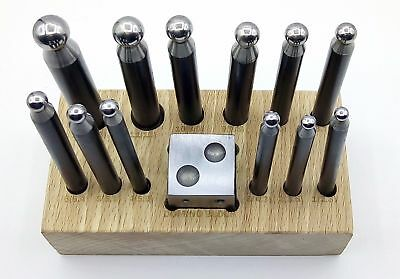 "Gold Silver Jewelry 14Pc Dapping Punch Set Wooden Stand 1"" Square Doming Block"