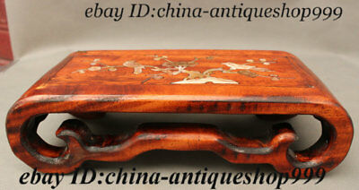 China HuangHuali Wood Inlay Shell Fiower Bird Bed used Low Tea table Desk Teapoy