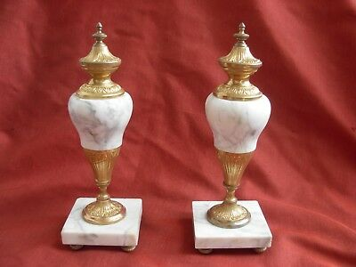 PAIR OF ANTIQUE FRENCH GILT BRASS BRONZE MARBLE CASSOLETTE,LATE 19th CENTURY.