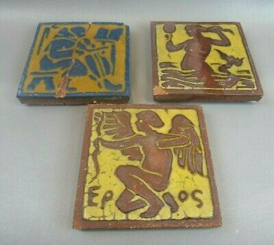 3 Antigue Arts & Crafts/Mission Grueby Pottery Tiles ~REPAIRED~