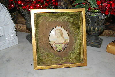 Wonderful Old Miniature Painting On Wood Gold Colored Shadow Table Picture Frame