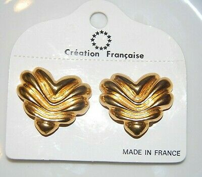 Wonderful Vintage Couture Gold Toned Metal Heart Shaped Large Clip Earrings