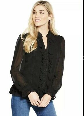 Size 8 Uk New Women V By Very Pintuck Ruffle Front Top Blouse Long Sleeve Black