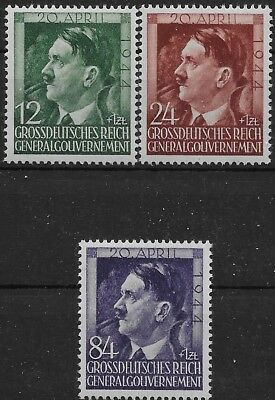 General Government Occupied Poland Mi # 117-119 Hitler Brithday  MNH 1943 **