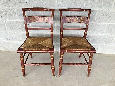 Pair Of Authentic Hitchcock By Lock 1776 Rush Bottom Auburn Harvest Side Chairs