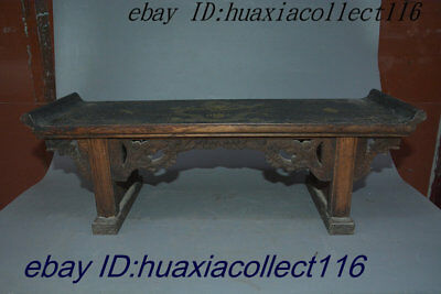 "20""Ancient Chinese Old Wood Lacquerware Wealth Dragon Loong Furniture Desk Table"