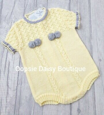 Boys Girls Gorgeous Lemon & Grey Spanish Knitted Pom Pom Romper  ☆