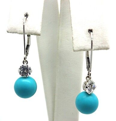 14K White Gold CZ & Turquoise Dangle or Drop Earrings 2.1 Grams