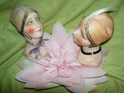 Outstanding antique FRENCH FLAPPER Boudoir bed doll shoulderhead, only