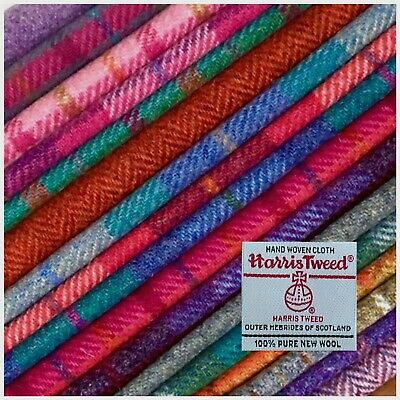Harris Tweed Fabric Cloth 100% Wool Tartan Check Herringbone Craft Sewing Labels