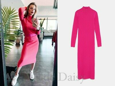 a2a6ca4131 Zara New Two Tone Knit Dress Long Midi Fitted Turtleneck Pink Fuchsia Size  S M