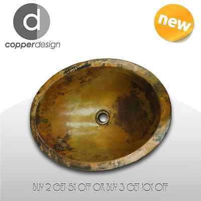 "Hand Hammered Copper Oval Bath Vessel Sink Double Wall 19""x14"""