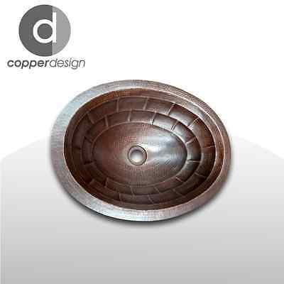 "Hammered Copper Oval Bath Sink with Turtle Shell Design 19""x14"""