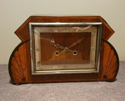 Antique 1930's Enfield Art Deco Walnut and Birds Eye Maple Mantel Clock (Chime)