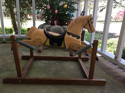 ROCKING HORSE Small Scale Wood Plastic Rich Toys Vintage 1950's Rare