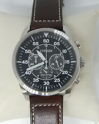 Citizen Avion Mens Chronograph Dial Leather Band Eco-Drive Watch Ca4210-24E