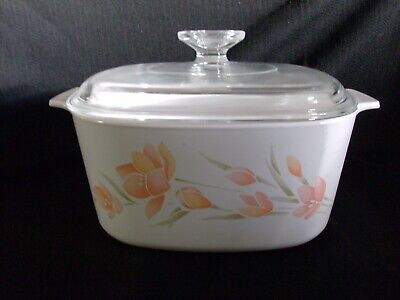 Corning Ware Peach Floral 3 Quart/3 Liter Casserole With Lid A-3-B