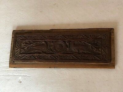 Antique Mughal Original Wooden Beautifully fine Carved Peacock Panel Collectible