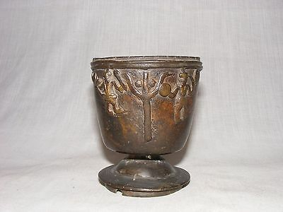 A Original Antique casted bronzed Tantric Bowel with God sun moon and Trishul