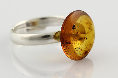 Fossil WINGED ANT Genuine BALTIC AMBER Adjustible Silver Ring r160118-5