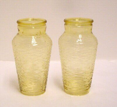 """Amber Textured Glass Pendant Light Shades Cone Shape 7 1/4"""" Tall Set of 2"""