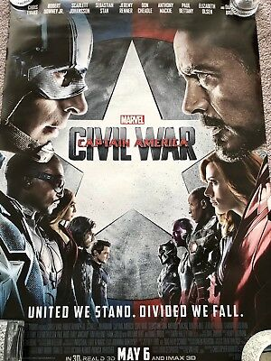 Marvel CAPTAIN AMERICA CIVIL WAR Original 2 Sided 27x40 Movie Poster IRON MAN