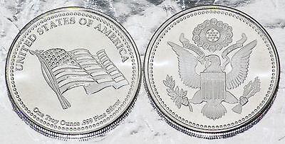 One 1 Oz American Flag & Eagle Liberty Fine .999 Silver Coin Silver Round