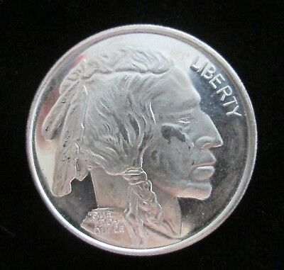 Liberty Indian head/Buffalo 1 troy oz .999 fine silver round