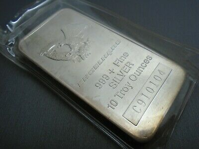 ENGELHARD 10 oz 999+ Fine Silver Bar WITH SERIAL NUMBER #F4-A
