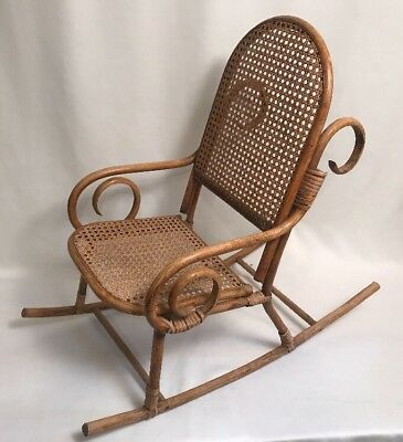Vintage Mid Century Franco Albini Era Child's Rocking Chair Rattan Bentwood Cane