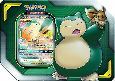 POKEMON SPRING 2019 TAG TEAM TIN - Eevee & Snorlax-GX (4 BOOSTERS + CODE)