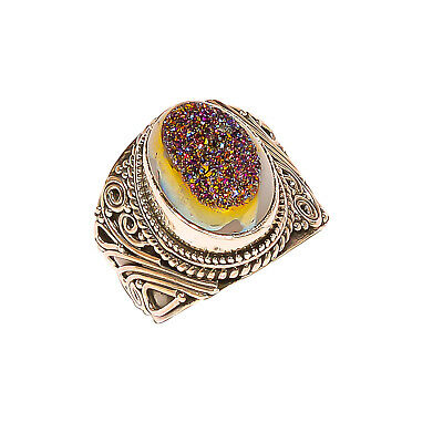 Titanium Druzy Vintage Style 925 Sterling Silver Ring 5.5(1015)