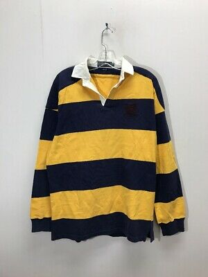 2d159411 Vintage Polo Ralph Lauren Long Sleeve Rugby Striped Shirt Size Large Navy  Yellow
