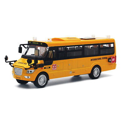 Yellow School Bus Metal Diecast Car Model Pull Back Toy Vehicle Gift Kids 9 inch