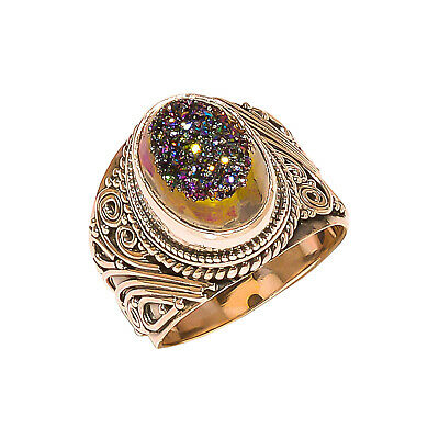 Titanium Druzy Vintage Style 925 Sterling Silver Ring 7.5(1026)