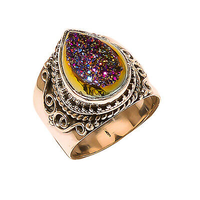 Titanium Druzy Vintage Style 925 Sterling Silver Ring 5.5(1010)