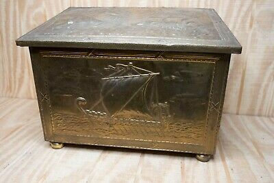 Antique Brass Lidded Coal Log Kinline Fireplace Box with Ship Scene