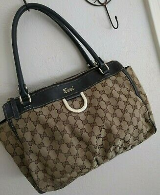 c83faddd133 AUTHENTIC GUCCI CANVAS Webbing Ribbon Tote +Dust Bag Great condition ...