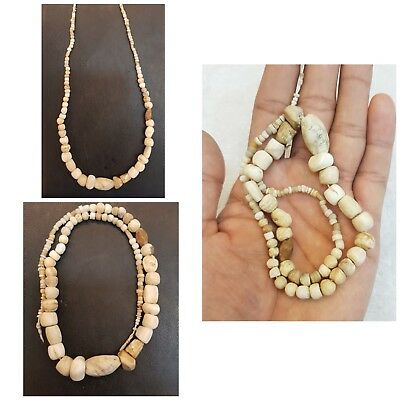 Old Beautiful Strand Antiques Bamiyan Bone Beads Ancient  Very Old Necklace  #6y