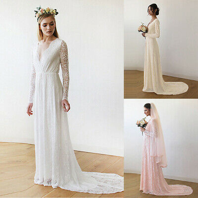 Women V Neck Lace Trailing Prom Evening Wedding Bridesmaid Pageant Dress Clothes